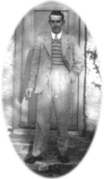 George Hambidge outside 1 Post Box Cottage